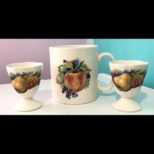 Vintage Shannonbridge Ireland Mug + Egg Cups